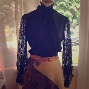 Vintage high neck, ruffles, lace and tie blouse -M
